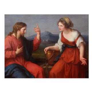 Jesús y la mujer en el pozo postales