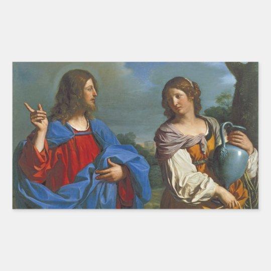 Jesus y la Samaritana en el pozo Rectangular Sticker