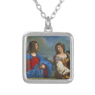 Jesus y la Samaritana en el pozo Silver Plated Necklace