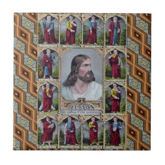 Jesús y los 12 apóstoles tejas  ceramicas