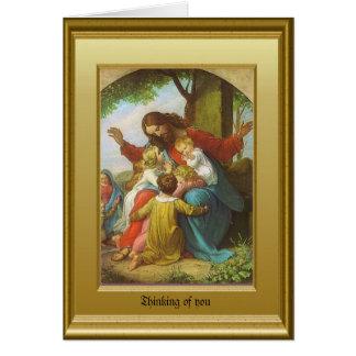 Jesús y los niños tarjeta de felicitación