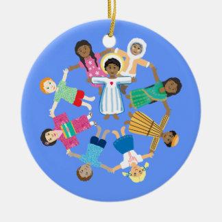 Jesús y los pequeños niños adorno navideño redondo de cerámica