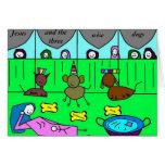 Jesús y los tres perros sabios tarjetas