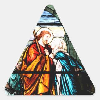 Jesús y Maria Pegatina Triangular