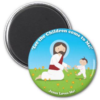 Jesús y niño imán redondo 5 cm