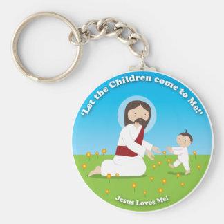 Jesús y niño llavero redondo tipo pin