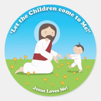 Jesús y niño pegatinas redondas