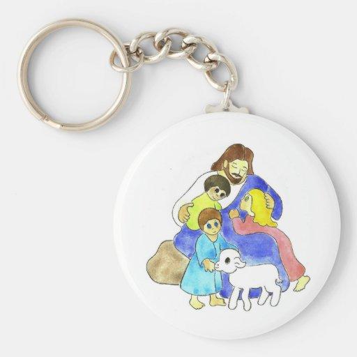 Jesús y niños llavero redondo tipo pin