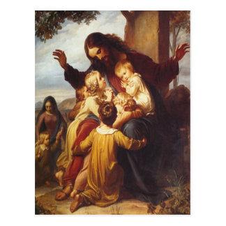 Jesús y postal del navidad de los niños