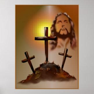 Jesús y poster de tres cruces