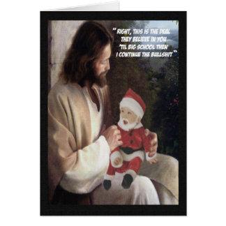 Jesús y Santa divertidos Tarjeta