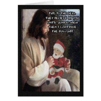 Jesús y Santa divertidos Tarjeta De Felicitación