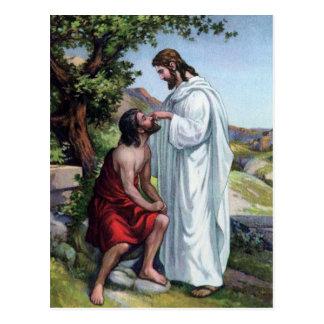 Jesús y un hombre ciego tarjeta postal