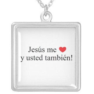 ¡Jesús yo también usted y del ama! cuello Colgante Cuadrado