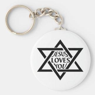 JesusLovesYouJewishStar Keychain