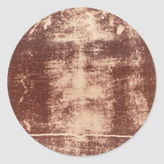 Jesus's Face Close up on the Shroud of Turin Classic Round Sticker