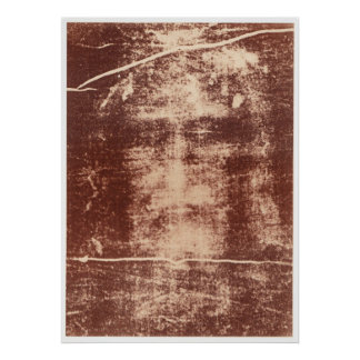 Jesus's Face Close up on the Shroud of Turin Print