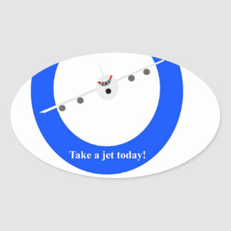 Jet Aircraft Oval Sticker