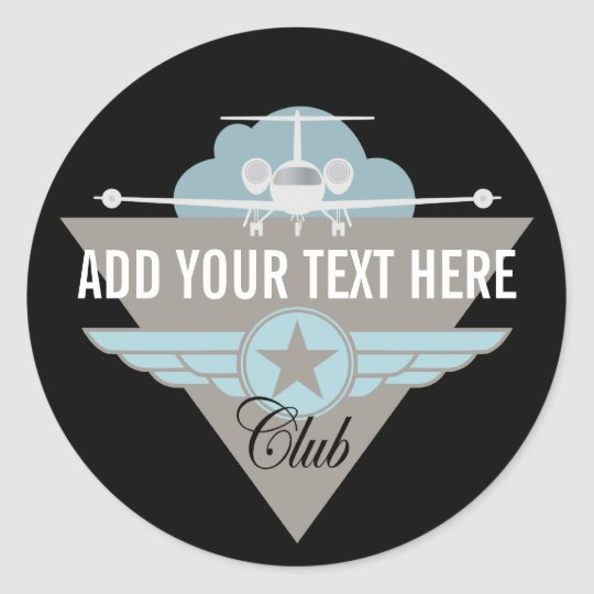 Jet Airplane Wing Club Classic Round Sticker