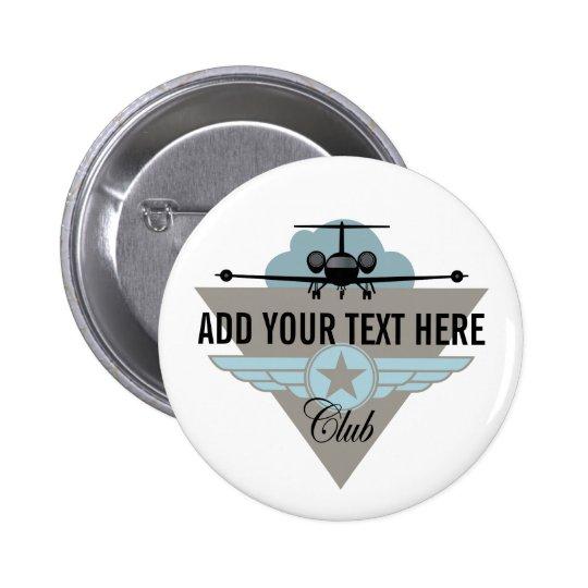 Jet Airplane Wing Club Pinback Button