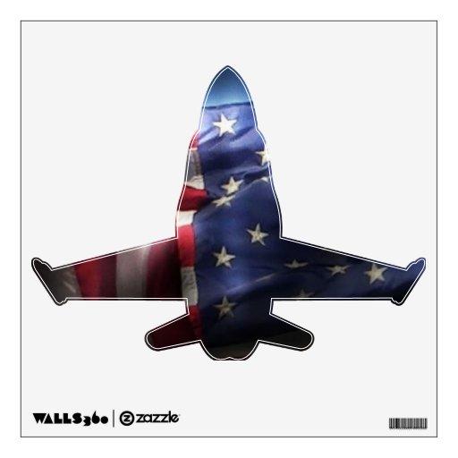 Jet americano del Bandera-Combatiente Vinilo Adhesivo