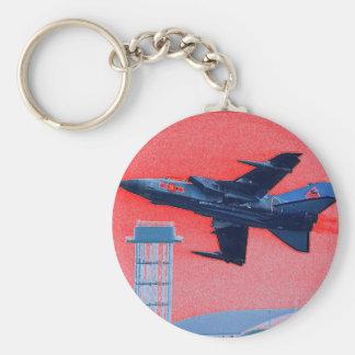 Jet azul BRITÁNICO Llavero Redondo Tipo Pin
