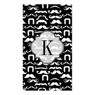 Jet Black and White Mustache Business Card
