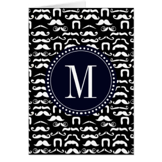 Jet Black and White Mustache Card
