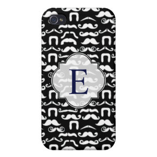 Jet Black and White Mustache Case For iPhone 4