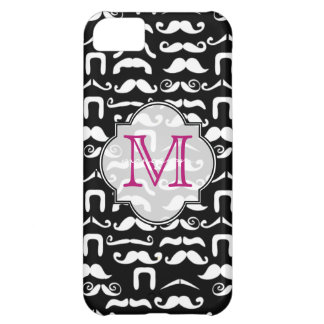 Jet Black and White Mustache Case For iPhone 5C