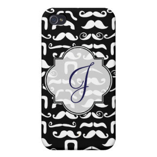 Jet Black and White Mustache Cover For iPhone 4