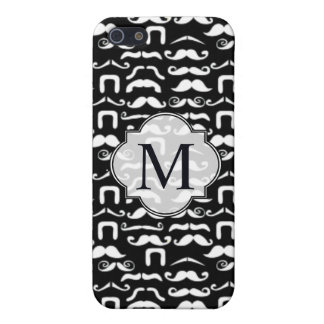 Jet Black and White Mustache Cover For iPhone SE/5/5s