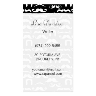 Jet Black and White Mustache Double-Sided Standard Business Cards (Pack Of 100)