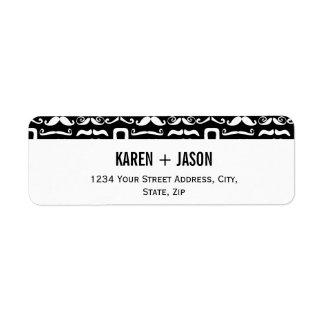 Jet Black and White Mustache Label