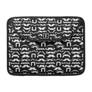 Jet Black and White Mustache MacBook Pro Sleeves