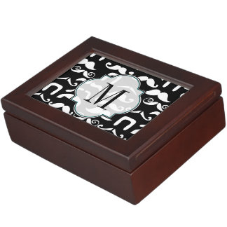 Jet Black and White Mustache Memory Box