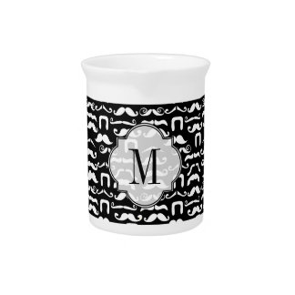 Jet Black and White Mustache Beverage Pitcher