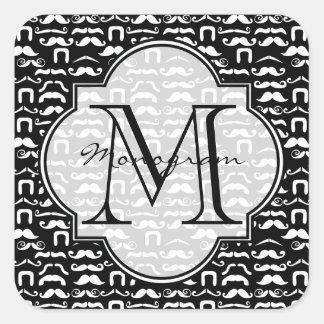 Jet Black and White Mustache Square Sticker