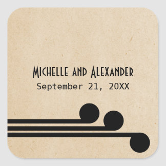 Jet Black Deco Chic Wedding Stickers