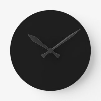 Jet Black Design - customise with text, photo, pic Round Clock