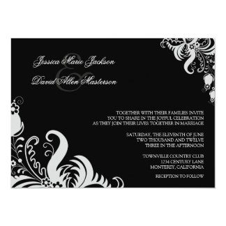 "Jet Black Formal Floral Accent Wedding Invitation 5.5"" X 7.5"" Invitation Card"