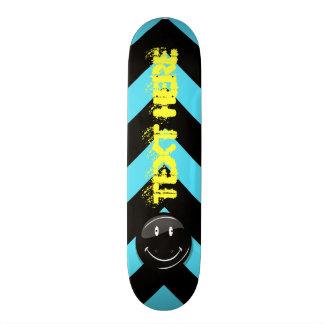 Jet Black Hipster Happy Face Custom Skate Board