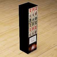 Jet black mahjong fireplace monogrammed wine box