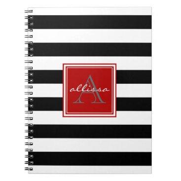 Beach Themed Jet Black Monogrammed Awning Stripe Notebook