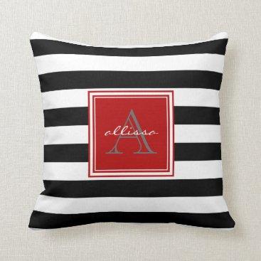 Beach Themed Jet Black Monogrammed Awning Stripe Throw Pillow