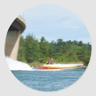 Beach Themed Jet Boats on a run, St Joseph Island Classic Round Sticker