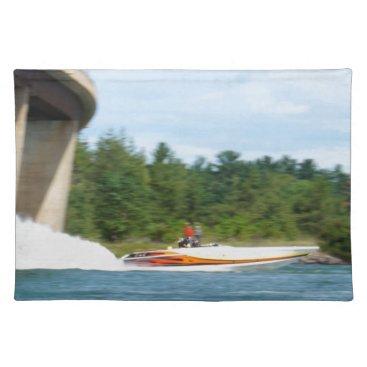Beach Themed Jet Boats on a run, St Joseph Island Cloth Placemat