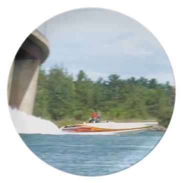 Beach Themed Jet Boats on a run, St Joseph Island Dinner Plate
