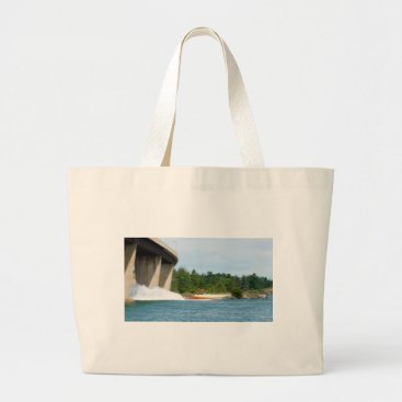 Beach Themed Jet Boats on a run, St Joseph Island Large Tote Bag