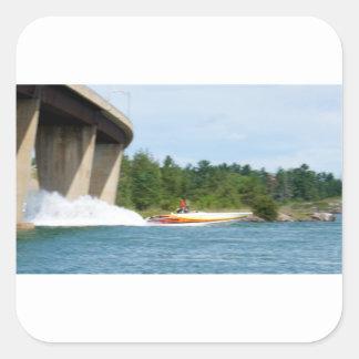 Jet Boats on a run, St Joseph Island Square Sticker